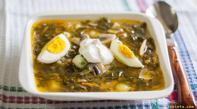 sopa de acedera