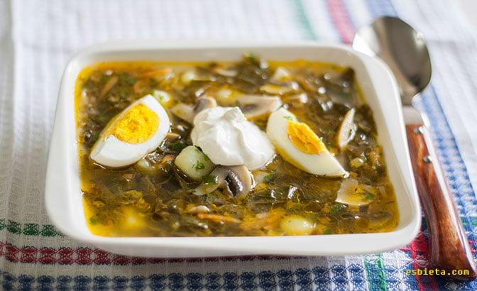 Riquísima sopa de acedera ( o de espinacas). Paso a paso ilustrado