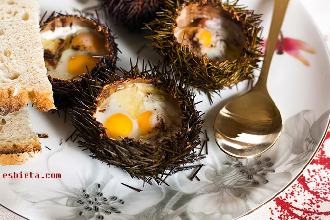 Erizos del mar con huevos de codorniz. Muy ricos