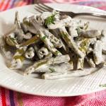 judías verdes en salsa de ajo