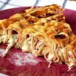 Pastel de crepes con jamón serrano y queso
